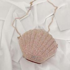 Cute Sequin Shoulder Handbags Women Small Chain Shell Crossbody Bags (Pink)