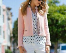 Zara Women Jacket Pink Tweed Long Sleeve Zipper Front Detail