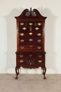 THOMASVILLE 18th C. 12 Drawer Chinese Chippendale 2 Piece Highboy Tall Chest