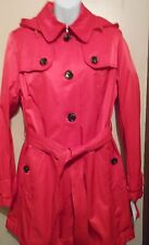 Jones New York Detachable Hood Belted Trench Coat Fiesta Red Large (L) NWT