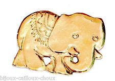 JACKY DE G Broche vintage couleur or modèle éléphant bijou brooch A3