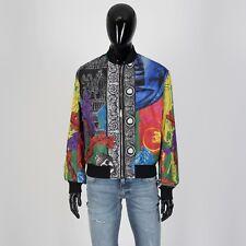VERSACE 2095$ Magna Grecia Print Bomber Jacket In Multi Color Silk & Nylon