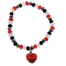 New Swarovski Elements Crystal Multi Stone Heart Bracelet Silver Black Ruby Red