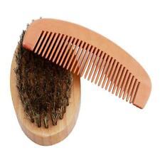 Mens Boar Bristle Beard Hair Brush & Handmade Mustache Comb Kit Gift B