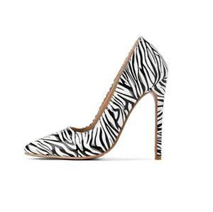 Women High Stilettos Heel Pump Slip On Pointy Toe Zebra Stripes Shoes Party Sexy
