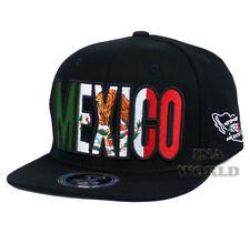 MEXICO Flag hat Hecho En Mexico Eagle Snapback Flat bill Baseball cap- Black