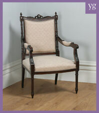 Antique french style louis xvi hêtre salon occasionnel fauteuil (vers 1880)