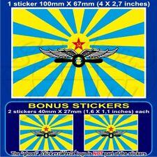 "SOVIET UNION Air Force Flag USSR CCCP 100mm (4"") Bumper Sticker Decal x1+2 BONUS"