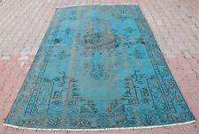 Blue Rug, Turkish Rug, 6x9ft. Handmade Vintage Rug Oushak Hand Knotted Wool Rug