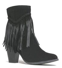 Womens Fringe Stack Thick Chunky High Heel Ankle Boot Booties Cowboy Western Zip