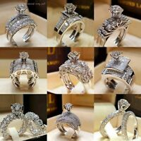 2x 925 Silver White Topaz Set Infinity Fashion Jewelry Women Wedding Ring Sz5-10