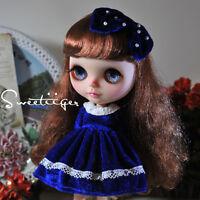 "【Tii】Velvet dress outfit 12"" 1/6 doll Blythe/Pullip/azone Clothes Handmade girl"