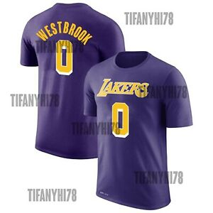 NEW!! Los Angeles Lakers RUSSELL WESTBROOK Name & Number Purple T-Shirt S-5XL