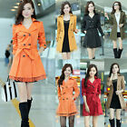 Fashion Womens Double Breasted Lace Trench Coat Outwear Long Jacket Overcoat hya