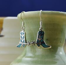 Navajo designed sterling silver & turquoise cowboy boot $ spurs dangle earrings