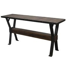 "66"" L Console Table Reclaimed Solid Teak Wood with Recycled Industrial Iron"