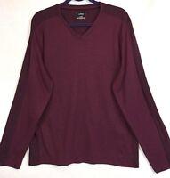 ALFANI Sweater XL Pullover Wine Long Sleeve V-Neck Contrasting Stripe NEW 708