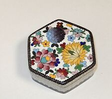 INABA FLORAL BIRD CLOISONNE WHITE ENAMEL HEXAGON UNSIGNED BOX