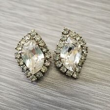 Vintage Signed WEISS Clear Rhinstone Earrings Clip On Chunky