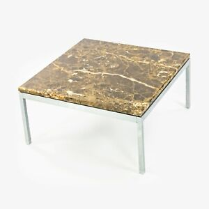 "Florence Knoll Studio Square Espresso Marble Low Side or Coffee Table 24"" Square"
