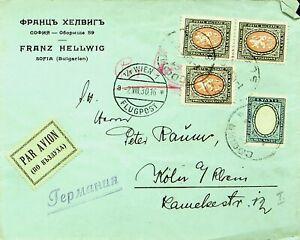 BULGARIA 1930 4v ON AIRMAIL COVER FROM SOFIA VIA WIEN AUSTRIA TO KOLN GERMANY