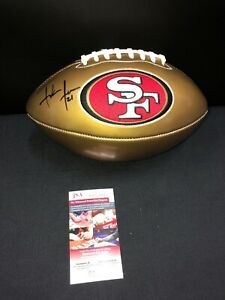FRANK GORE SAN FRANCISCO 49'ERS SIGNED GOLD LOGO FOOTBALL JSA WITNESS COA HOF!