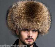 Men's Winter Hats Real Raccoon Fur&Lamb Leather Russian Ushanka Cossack Trapper
