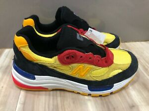 New Men's New Balance 992 Made In USA Yellow Black Navy Red Shoes M992DM Size 4