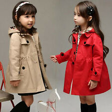 Kids Girls Long Sleeve Casual Dress Jacket Hooded Trench Coat Outerwear Age 2-12
