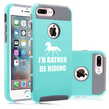 For iPhone SE 5 6 6s 7 Plus Dual Shockproof Hard Case I'd Rather Be Riding Horse