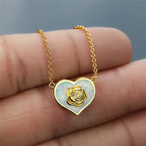 White Simulated Opal Heart Pendant Inlay Rose Flower Necklaces Lovers Jewelry