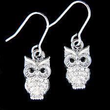 w Swarovski Crytal Cute ~Wise~ Smart Owl Wisdom Teacher Student Pendant Earrings