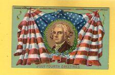 July Fourth Greeting, Washington Portrait on draped Flag