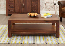 Mayan Solid Walnut Dark Wood Coffee Table With Open Shelf Storage