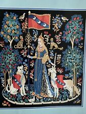 Medieval Cluny Tapestry Vintage Crewel Embroidery Kit 14x16 Unworked Unicorn