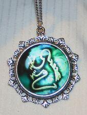 Lovely Fleur de Lis Starburst Rim Blue & White Virgo Zodiac Silvertone Necklace