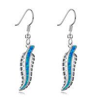 925 Silver Women Jewelry Fashion Fire Blue Opal Wedding Dangle Drop Earrings