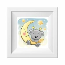 022 Kinderzimmer Bild Teddy Mond Poster Plakat quadratisch 20 x 20 cm (ohne Rahm