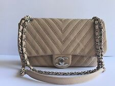 NWT AUTHENTIC 2017 CHANEL FLAP STUDDED BEIGE WITH SILVER HARDWARE