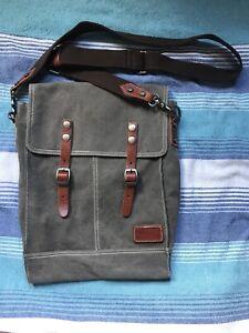 Gray Canvas Crossbody Bag
