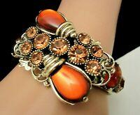 Rare Vtg Signed Selro Goldtone Amber Glass Rhinestone Hinged Clamper Bracelet