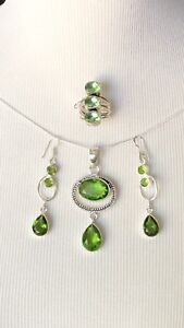 Sterling Silver.925 Green Peridot Pendant With Chain, Ring And Earrings Set.