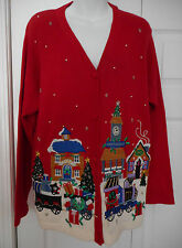 Victoria Jones Ugly Christmas Holiday Sweater Women's Size L Beads Embroidery