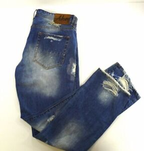 AKOO No rivals Logger fit denim jeans destroyed distressed ripped 38x34