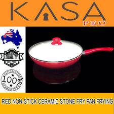 Genuine KASA Fry Pan Frying Pan New Red Non-Stick Ceramic Stone Marble Coated