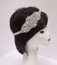 Ivory Pearl Silver Diamante Bridal Headband Wedding Headpiece Ribbon Vtg 2889