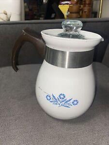 Corning Ware 6 Cup Coffee Pot Percolator Cornflower Blue P-166 with Insert