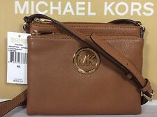 NWT Authentic Michael Kors Fulton Luggage Brown Leather Crossbody Bag Purse