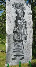 African painting / batik, black & white, starched textile, woman carrying fruit