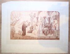 Gravure sur bois, Victor Hugo et sa lyre, Waltner d'apr Puvis de Chavannes, XIXe